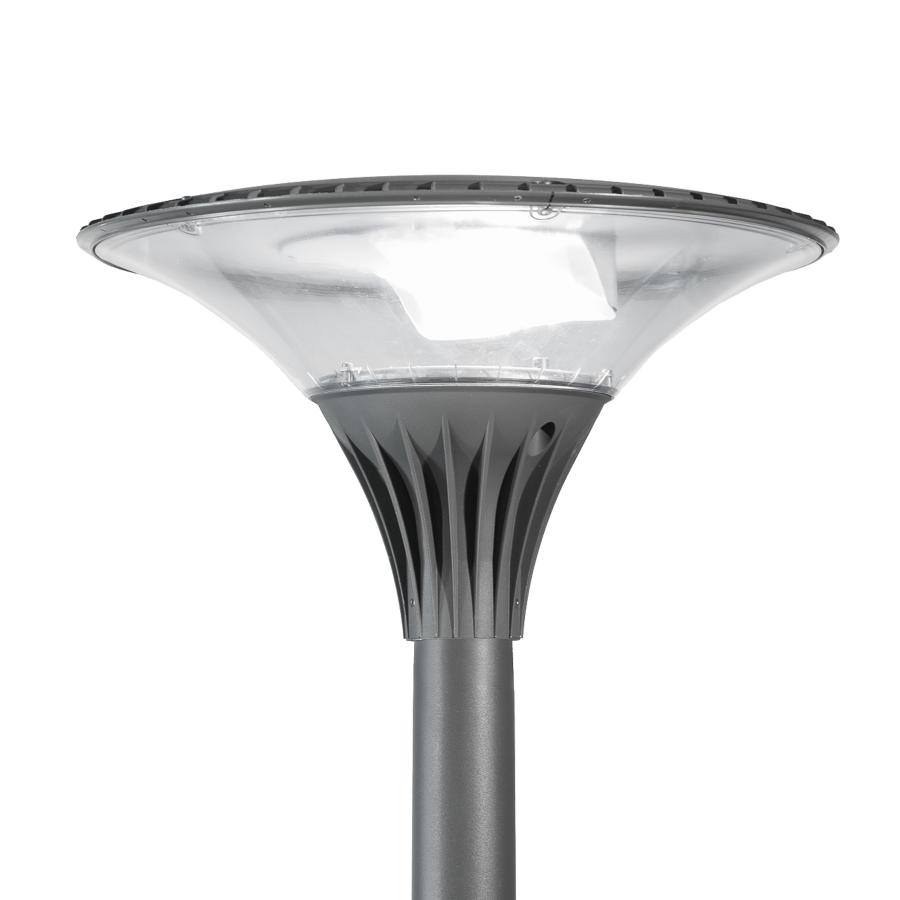 The Zela urban luminaire emits a pleasant, low glare light, making it perfect for architectural spaces.