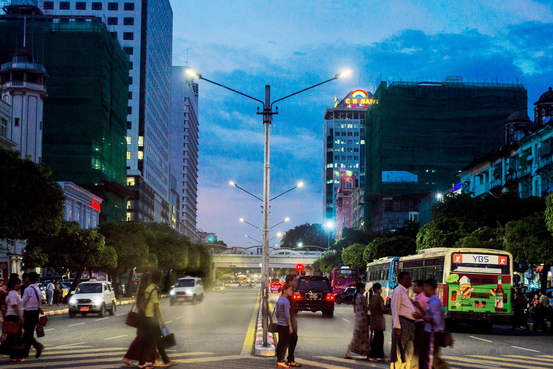 Avento lights up the main arteries of Myanmar's capital city to create safe streets