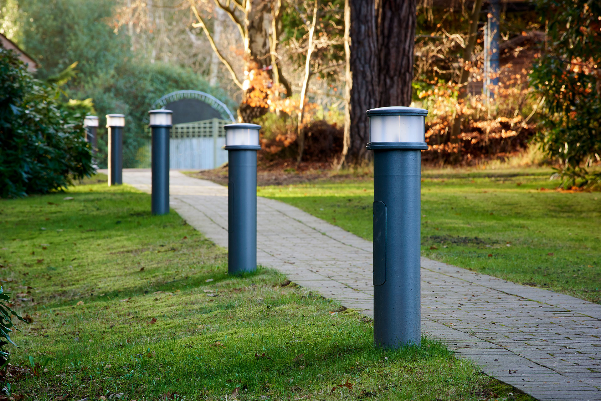 Pharos bollards illuminate walkways to create a secure passage
