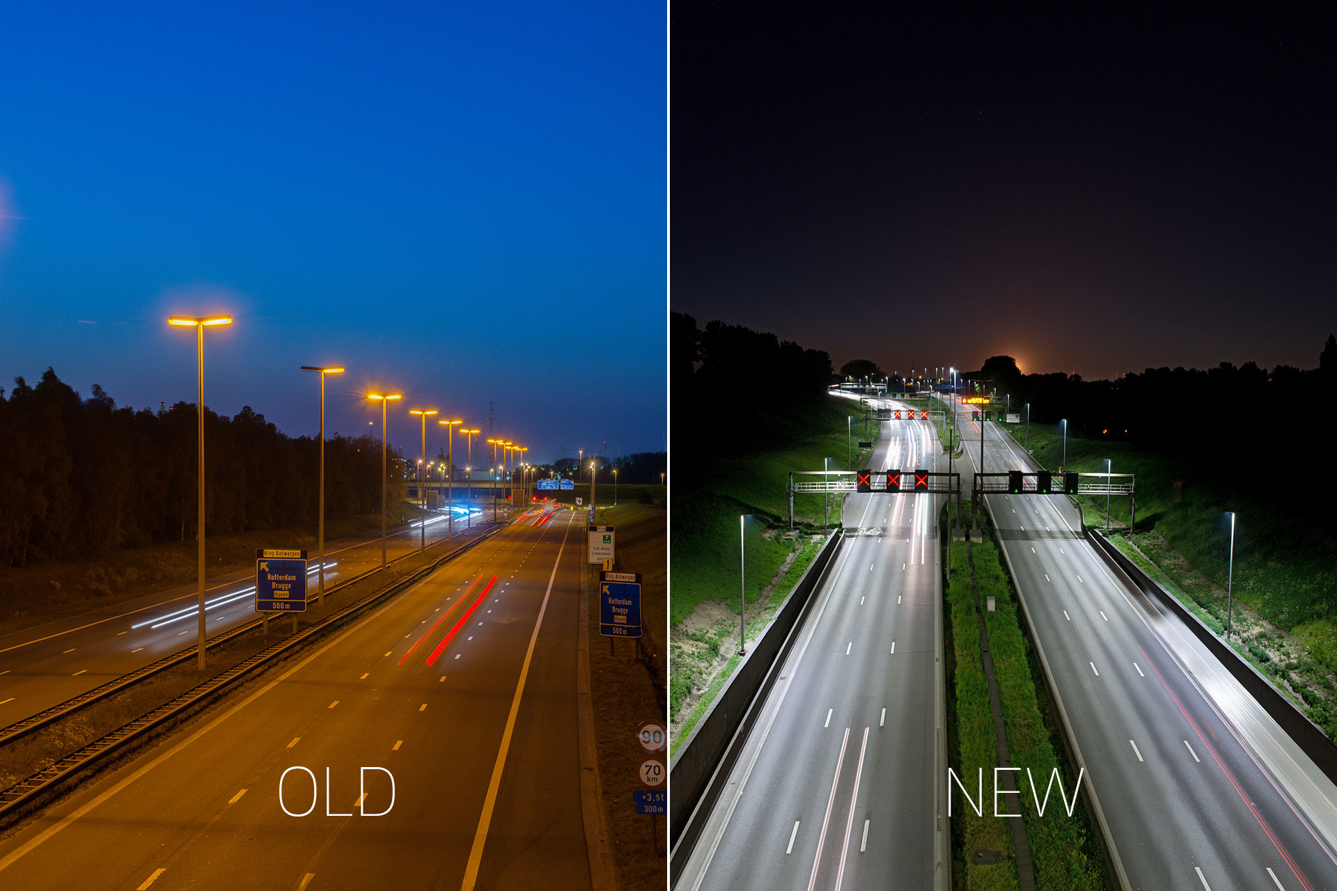 Teceo LED luminaires have dramatically improved visibility on the E17 in Belgium, by providing a bright white light