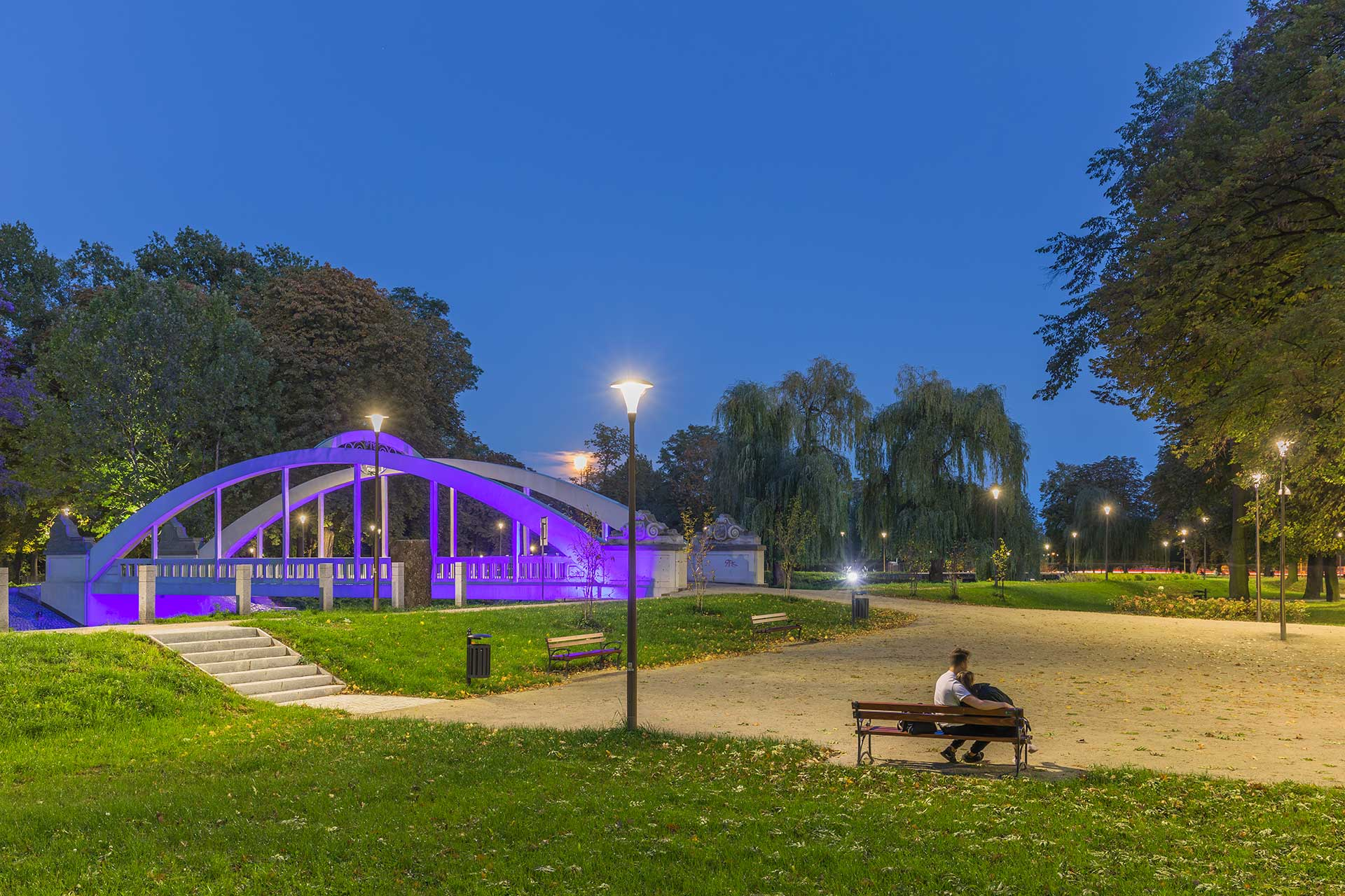 Central Park in Swidnica is a high-quality space for residents to relax or practise sport in the evenings thanks to a energy-efficient lighting solution